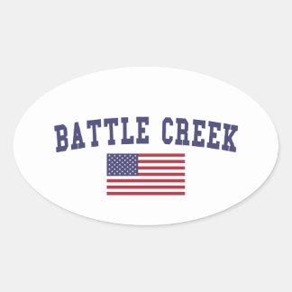 Battle Creek US Flag Oval Sticker