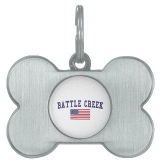 Battle Creek US Flag Pet Name Tag