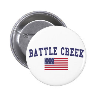 Battle Creek US Flag Pinback Button