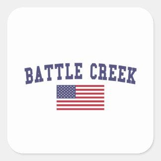 Battle Creek US Flag Square Sticker