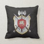 Battle Crest Dragon Black Throw Pillows