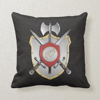 Battle Crest Howling Wolf Black Throw Pillow