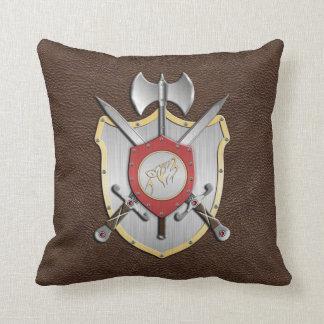 Battle Crest Howling Wolf Brown Throw Pillow