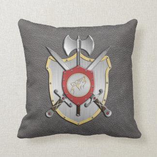 Battle Crest Howling Wolf Grey Throw Pillow