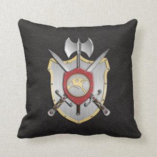 Battle Crest Penguin Black Throw Pillows