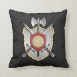 Battle Crest Wolf Black Pillows