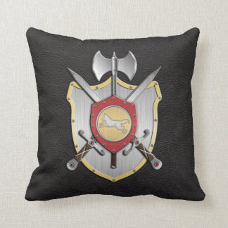 Battle Crest Wolf Black Throw Pillow