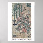 Battle for a ball by Ishikawa, Toyonobu Ukiyoe Poster