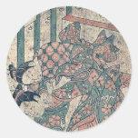 Battle for a ball by Ishikawa, Toyonobu Ukiyoe Sticker