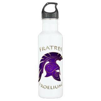 Battle Gold Spartan Warrior Purple 24oz Water Bottle