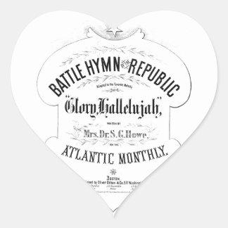 Battle Hymn of the Republic Music Cover Sheet Heart Sticker