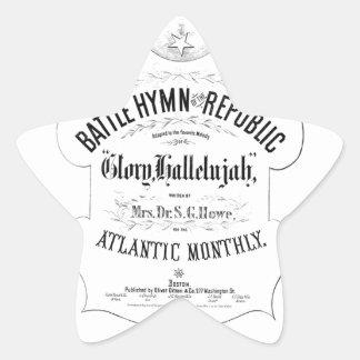 Battle Hymn of the Republic Music Cover Sheet Star Sticker