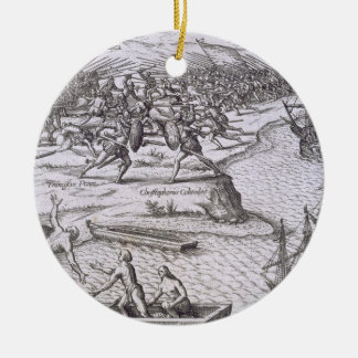 Battle in Jamaica between Christopher Columbus (14 Ceramic Ornament