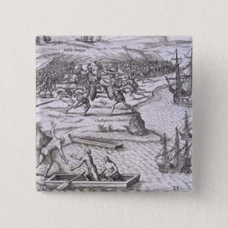 Battle in Jamaica between Christopher Columbus (14 Pinback Button