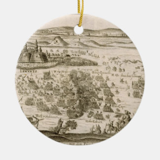 Battle near the Town of Levice in 1664, illustrati Ceramic Ornament