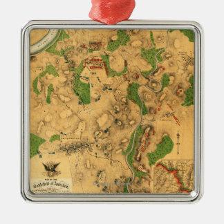 Battle of Antietam - Civil War Panoramic Map 3 Metal Ornament