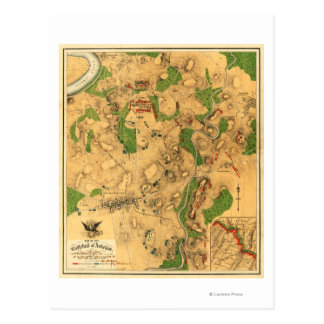 Battle of Antietam - Civil War Panoramic Map 3 Postcard