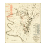 Battle of Antietam - Civil War Panoramic Map 4 Stretched Canvas Print