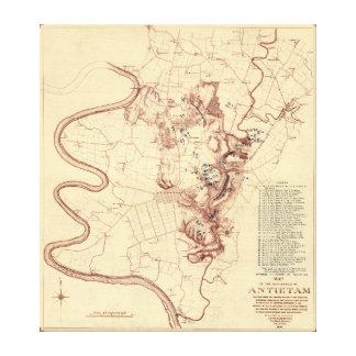 Battle of Antietam - Civil War Panoramic Map 5 Canvas Print
