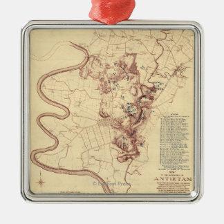 Battle of Antietam - Civil War Panoramic Map 5 Metal Ornament