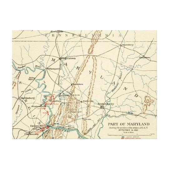 Battle of Antietam - Civil War Panoramic Map 7 Canvas Print