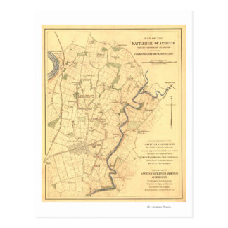Battle of Antietam - Civil War Panoramic Map Postcard