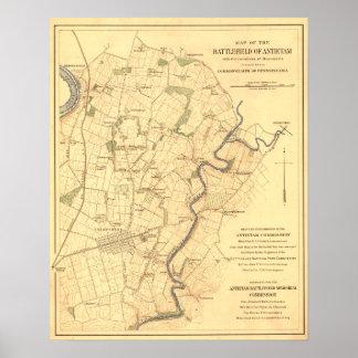 Battle of Antietam - Civil War Panoramic Map Poster
