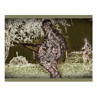 Battle of Bulge Soldier Silhouette Postcard