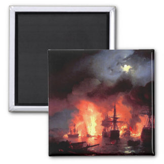 Battle of Cesme at Night 2 Inch Square Magnet