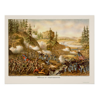 Battle of Chattanooga by Kurz and Allison 1863 Print