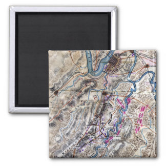 Battle of Chickamauga - Civil War Panoramic Map 2 Inch Square Magnet