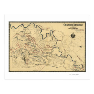 Battle of Chickamauga - Civil War Panoramic Map Postcard