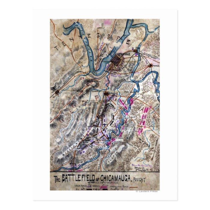 Battle of Chickamauga - Civil War Panoramic Map Postcard