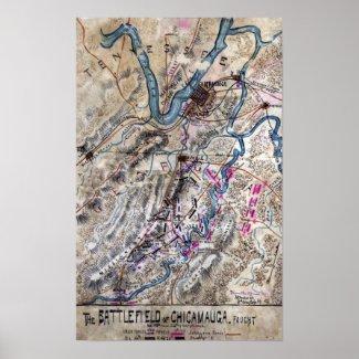Battle of Chickamauga - Civil War Panoramic Map Poster