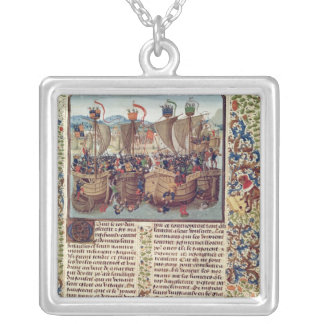Battle of Ecluse, from 'Froissart's Chronicle' Silver Plated Necklace