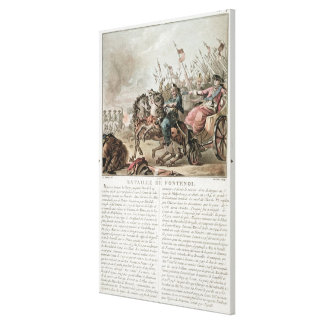 Battle of Fontenoy, 1745, engraved by Louis Le Coe Canvas Print