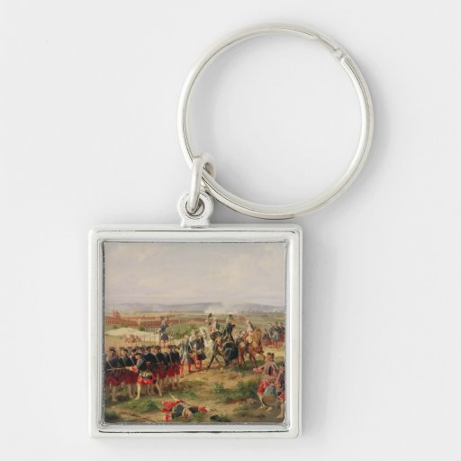 Battle of Fontenoy Silver-Colored Square Keychain