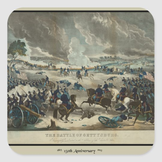 Battle of Gettysburg Water Color Square Sticker
