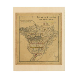 Battle of Guildford Map March 15 1781 Wood Print