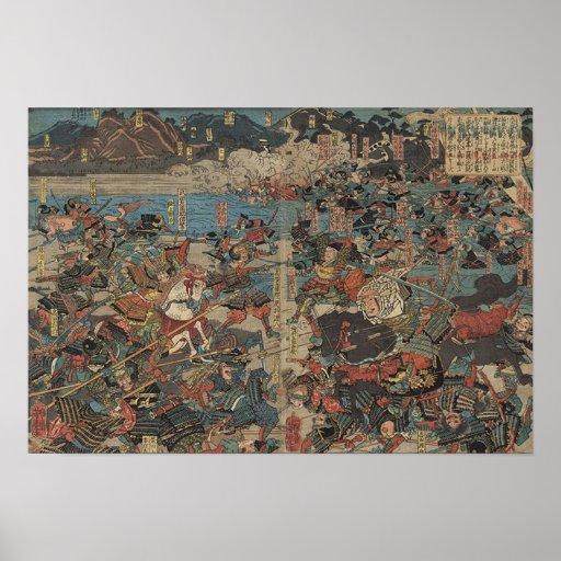 Battle of Kawanakajima by Yoshitora Póster