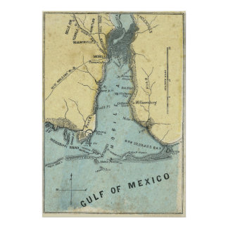 Battle of Mobile Bay Map Poster
