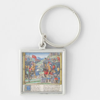 Battle of Montlhery Silver-Colored Square Keychain