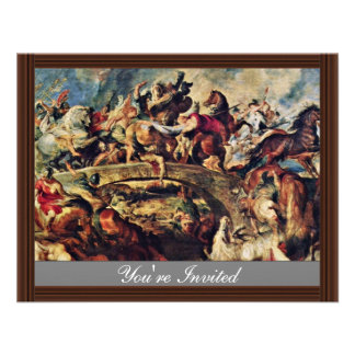 Battle Of The Amazons By Rubens Peter Paul Custom Announcement