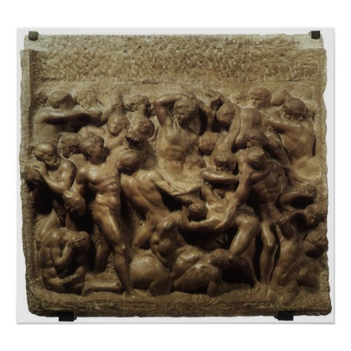 Battle of the Lapiths and Centaurs by Michelangelo Poster