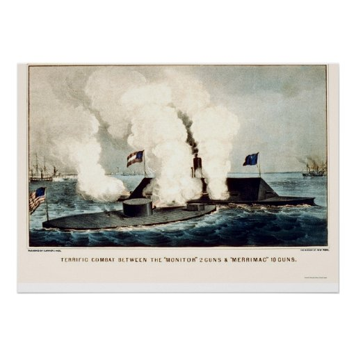 Battle of the Monitor and Merrimac 1862 Print