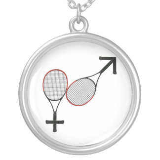 Battle of the Sexes Tennis Silver Plated Necklace