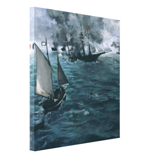 Battle of USS Kearsarge and CSS Alabama by Manet Stretched Canvas Prints