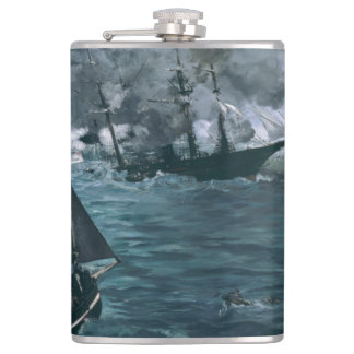 Battle of USS Kearsarge and CSS Alabama by Manet Flask