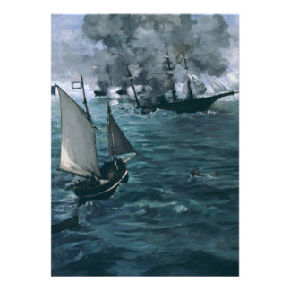 Battle of USS Kearsarge and CSS Alabama by Manet Invitation