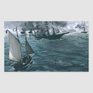 Battle of USS Kearsarge and CSS Alabama by Manet Rectangular Sticker